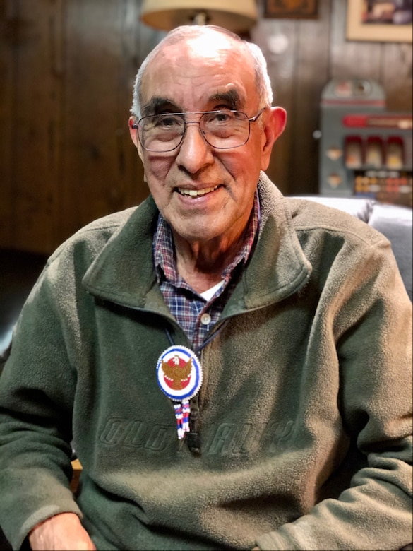 Ottawa American Indian, Bob Bailey, Air Force veteran, and NSA retiree, at his home in Maryland. He is wearing a traditional, Native American bead necklace