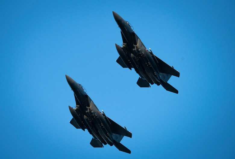 F-15E Strike Eagles fly during a 'Furious 48' exercise