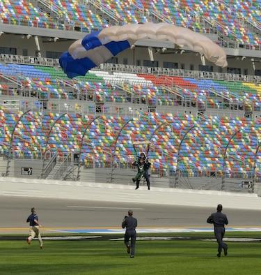 Bubba Wallace, driver of Richard Petty Motorsport's No. 43 car, made a grand entrance to this year's Daytona 500 race.