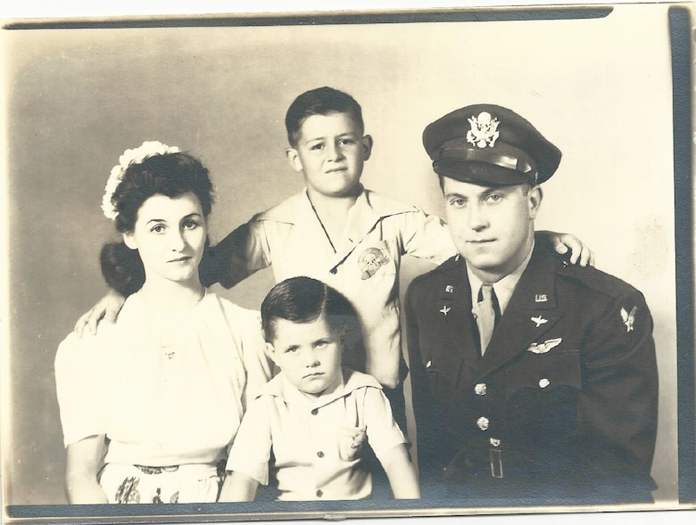 The Sherrill family poses in the early 1950s. The Sherrills lived at Fairfield-Suisun Air Force Base (now Travis AFB), California, on Aug. 5, 1950, when a B-29 Superfortress crashed, killing 19 and wounding more than 100 others. Among the injured was Frances Mae Sherrill, left, whose leg was amputated after it was hit by shrapnel. (Courtesy photo/Jerry Sherrill)