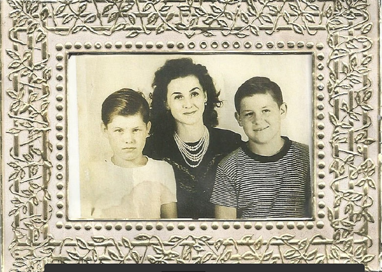 Frances Mae Sherrill sits with her sons for a photo in the 1950s. Frances Mae and Jerry, left, were present at Fairfield-Suisun Air Force Base (now Travis AFB) on Aug. 5, 1950, when a B-29 Superfortress crashed, killing 19 and wounding more than 100 others. Shrapnel hit Frances Mae's right leg, causing an amputation below the knee. (Courtesy photo/Jerry Sherrill)