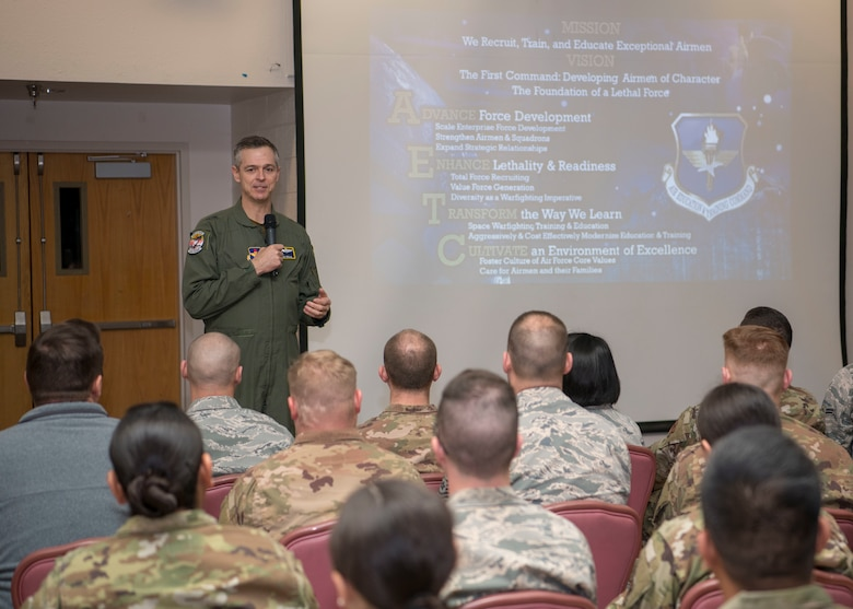 Maj. Gen. Craig Wills, 19th Air Force commander, speaks during an all-call, Feb. 14, 2020, on Holloman Air Force Base, N.M. The 19th AF command team toured 49th Wing facilities, focusing on recognizing Airmen who have made a substantial impact on the Holloman mission. (U.S. Air Force photo by Airman 1st Class Quion Lowe)