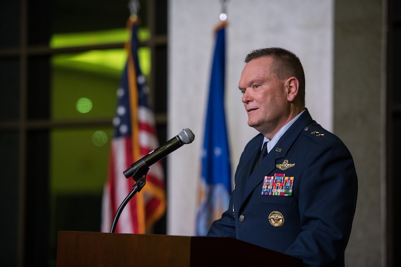 """Maj. Gen. Samuel """"Bo"""" Mahaney, Chief of Staff, Air Mobility Command, Scott Air Force Base, Illinois, shares his thoughts on resiliency as the honored guest speaker during the 932nd Airlift Wing and 954th Reserve Support Squadron Annual Awards Banquet, Feb. 8, 2020, Scott Event Center, Scott Air Force Base, Illinois. (U.S. Air Force photo by Christopher Parr)"""