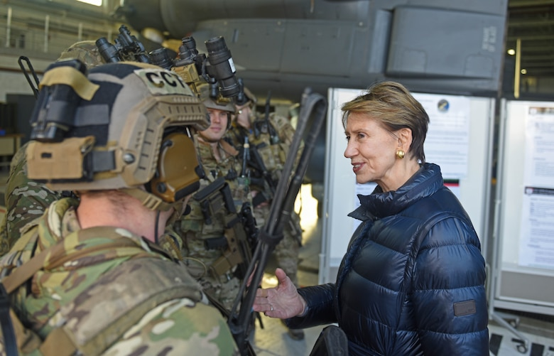 Secretary of the Air Force Barbara Barrett speaks with 352 Special Operations Wing air commandos during her visit to RAF Mildenhall, England, Feb. 13, 2020. During Barrett's visit she stopped at various units including the air traffic control tower, fire station and different units within the 352 SOW. (U.S. Air Force photo by Staff Sgt. Luke Milano)
