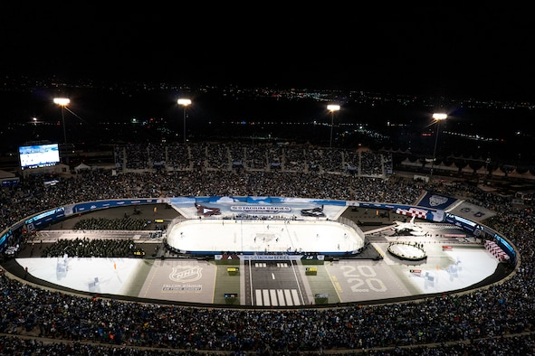 A near-capacity crowd takes their seats prior to the ceremonial puck drop during the NHL Stadium Series game Feb. 15, 2020, at the Air Force Academy, Colo. (Air Force photo)