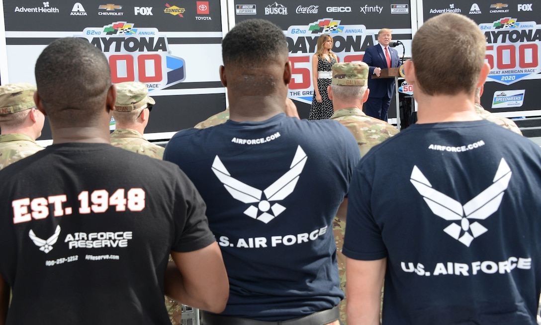 President Donald J. Trump talks to a small group prior to the start of the Daytona 500. During his speech he congratulates the Air Force's newest members