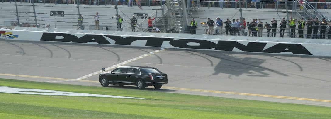 President Donald J. Trump makes a lap around the track at the Daytona 500. Earlier in the day, the president congratulated 30 of the Air Force's newest members in a small gathering.