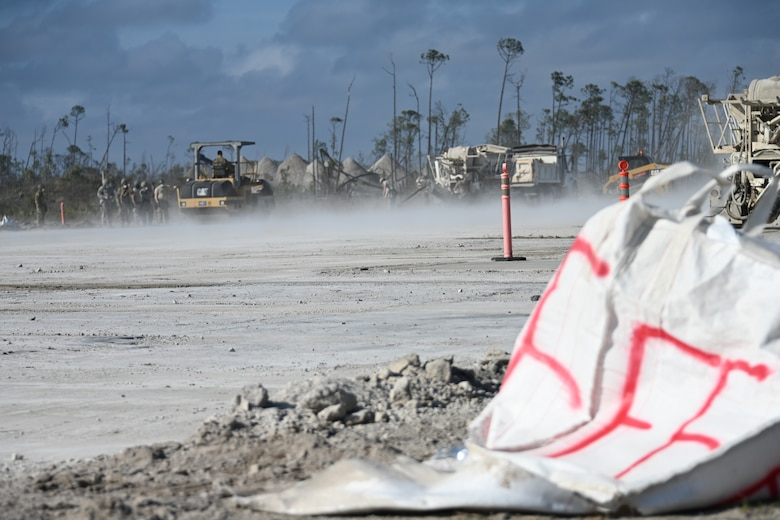 Photo of construction on runway.