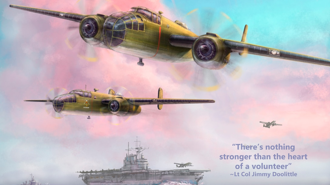 Digital rendering of Art piece Doolittle Raid Poster which links to full version.