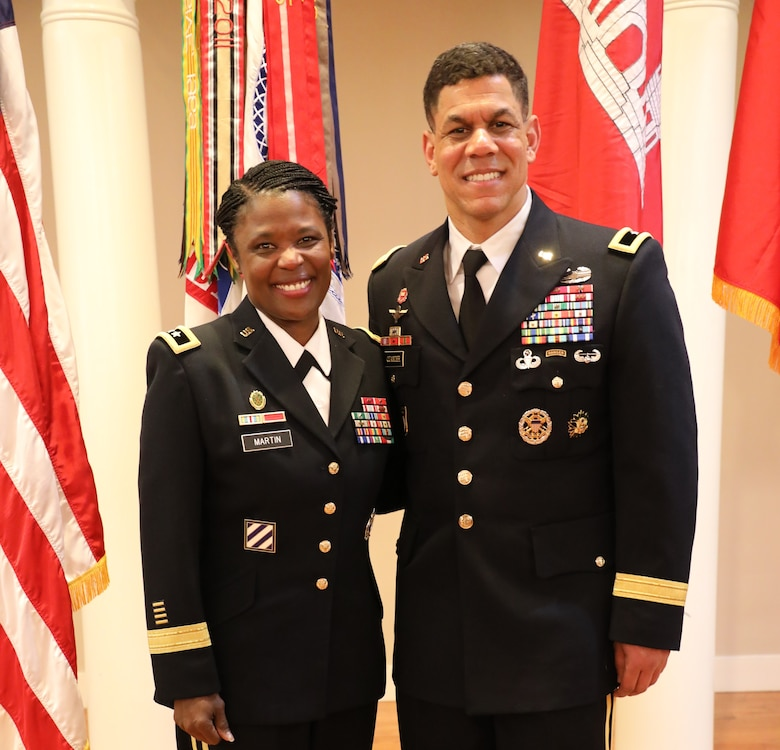 Maj. Gen. Donna Martin, commanding general of the Maneuver Support Center of Excellence and Fort Leonard Wood congratulates newly promoted Brig. Gen. Mark Quander. Quander is the commandant of the U.S. Army Engineer School at Fort. Leonard Wood. He was promoted to the rank of brigadier general at Fort Myer, Virginia on Feb. 14, 2020.