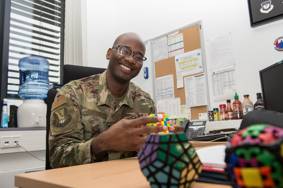 Photo of first sergeant sitting at his desk