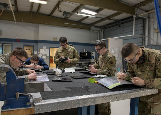 Airmen from the 4th Equipment Maintenance Squadron work on sheet metal training projects at the Aircraft Structural Maintenance shop, Feb. 4, 2020, at Seymour Johnson Air Force Base, N.C.
