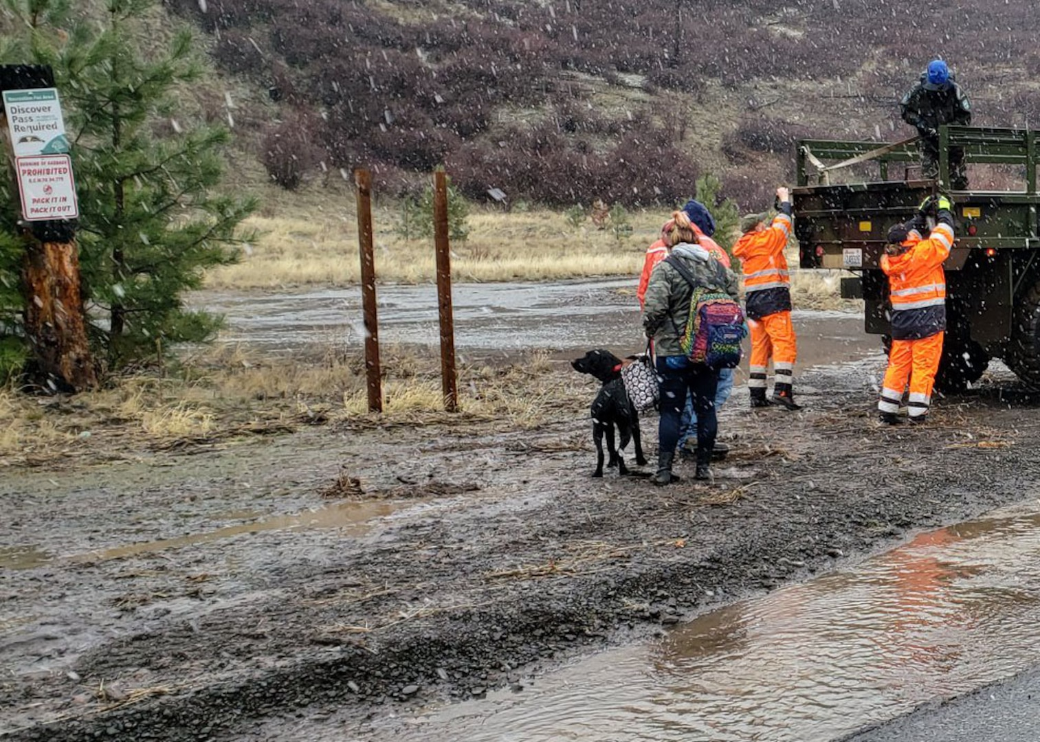 People and dogs make there way to a military cargo truck with flood waters near by.
