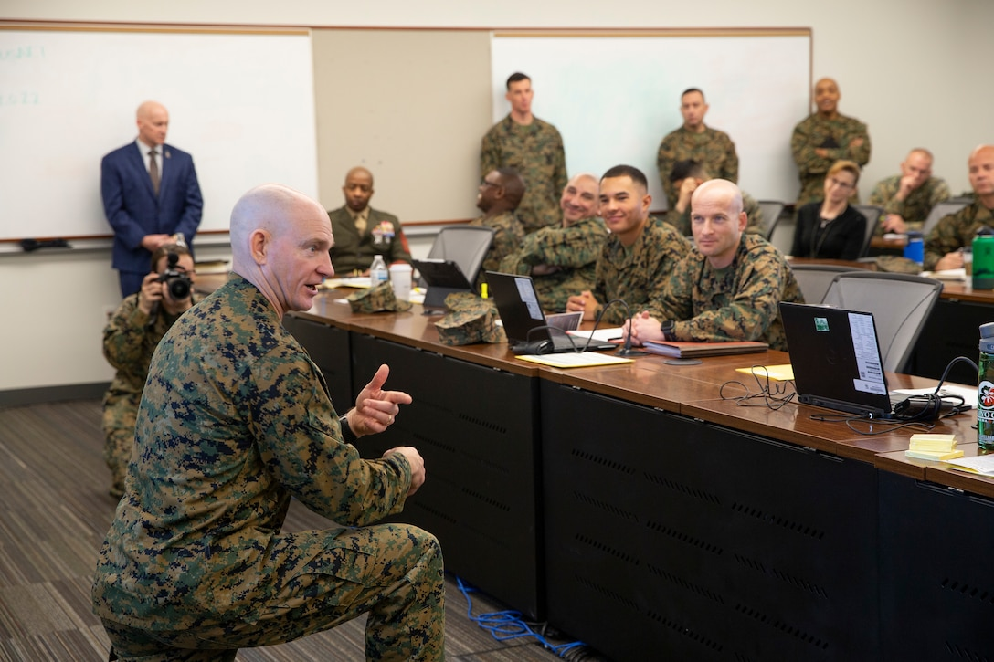 U.S. Marine Corps Sgt. Maj. Troy E. Black, Sergeant Major of the Marine Corps, addresses a summit on Marine Corps recruiting, retention and talent management efforts at Marine Corps Base Quantico, V.A., Feb. 3.