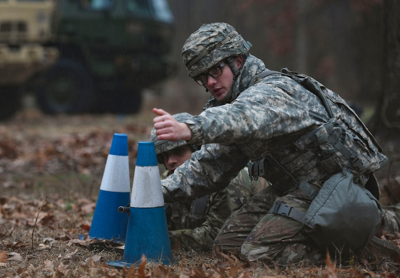 U.S. Army Soldiers assigned to the 53rd Movement Battalion establishes tactical fighting positions during an area defense field training exercise at Joint Base Langley-Eustis, Virginia, Feb. 13, 2020.