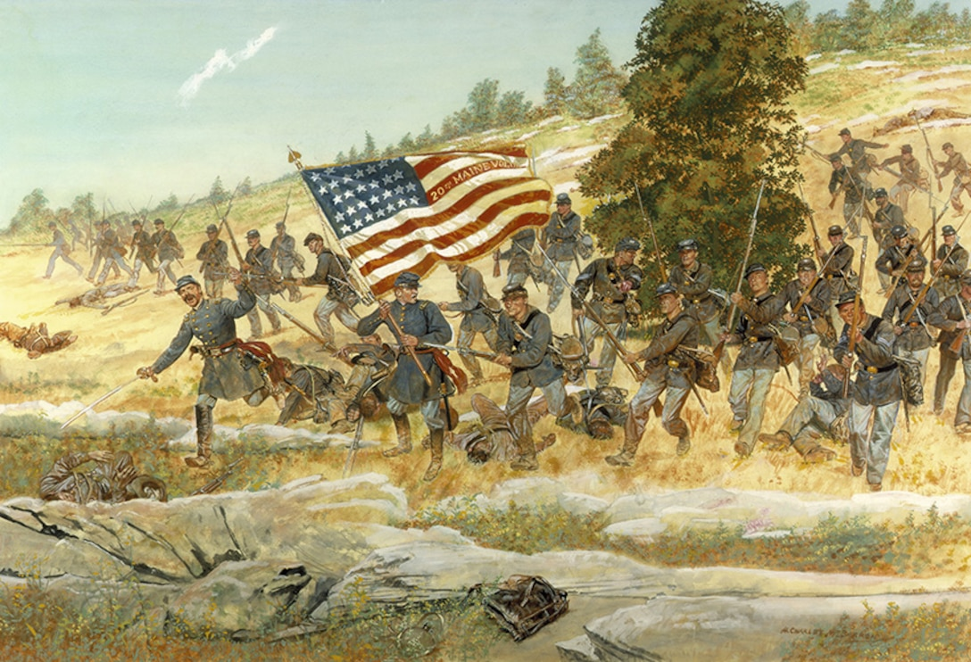 A painting shows  Union soldiers running down a hill carrying the U.S. flag.