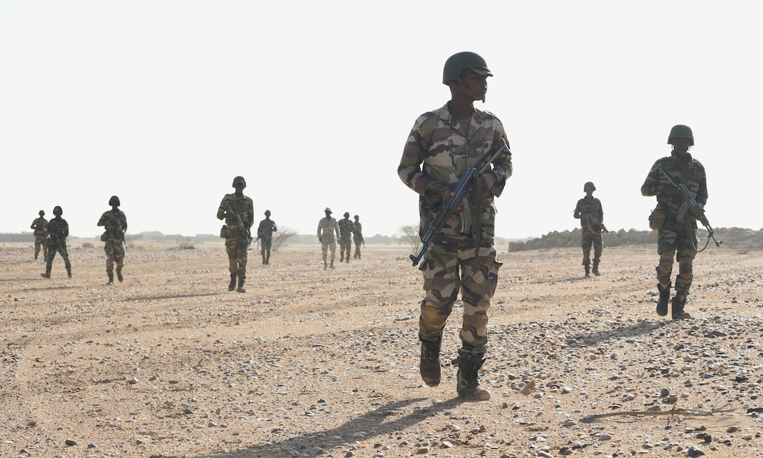 Photo of Niger Armed Forces personnel participating in a small unit tactics and operations course.