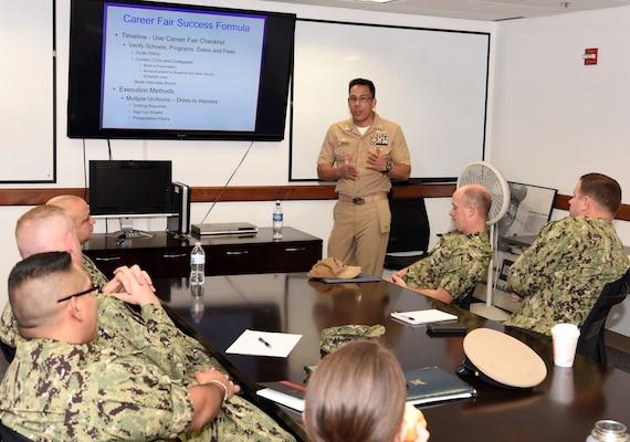 Navy captain talking