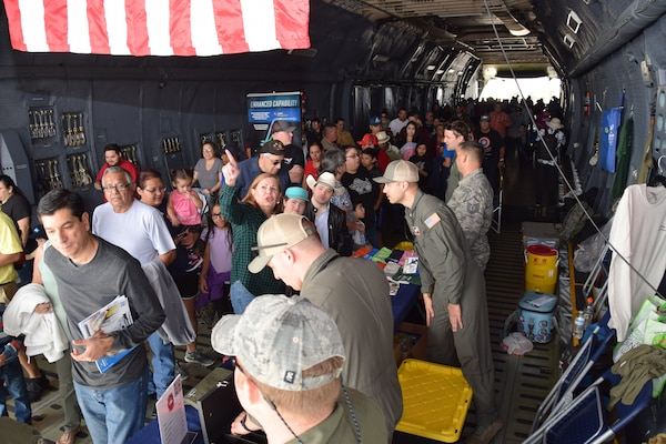 A 433rd Airlift Wing C-5M Super Galaxy was one of the aircraft in attendance Feb. 16, 2020 at the Stars and Stripes Air Show in Laredo, Texas. Hundreds of people got a chance to walk through the C-5M to view the aircraft up close from the inside. (U.S. Air Force photo by Tech. Sgt. Iram Carmona)