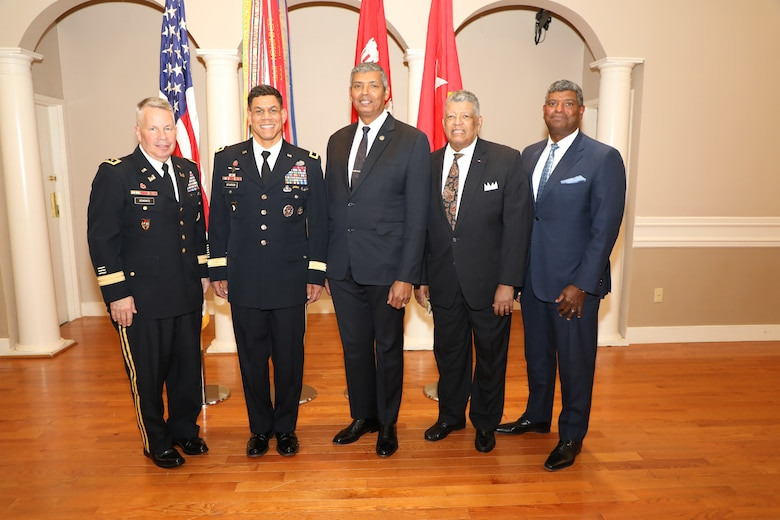 USACE Commanding General and 54th U.S. Army Chief of Engineers Lt. Gen. Todd T. Semonite (left) officiated at the promotion ceremony of Brig. Gen. Mark C. Quander, (2nd from left) Feb. 14, 2020, at Joint Base Myer-Henderson Hall, Virginia. The extended Quander family is the only African American family to produce four general officers in the U.S. military. The other three general officers who encompass this history are:  Gen. (ret.) Vincent K. Brooks (center), Maj. Gen. (ret.) Leo A. Brooks, Sr. (2nd from right), and Brig. Gen. (ret.) Leo A. Brooks, Jr. (right). The Brooks family remains the only African American family to have three general from the same immediate family, and is connected to the Quander family tree in several ways, with the primary link being through Naomi Lewis Brooks, the mother to Leo Jr. and Vincent Brooks.