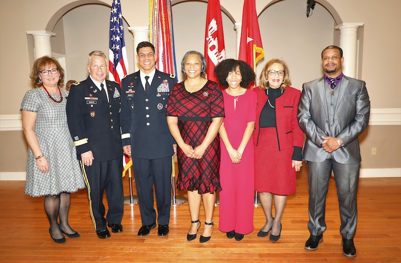 USACE Commanding General and 54th U.S. Army Chief of Engineers Lt. Gen. Todd T. Semonite (2nd from left) and his wife Connie (left) with the family of Brig. Gen. Mark C. Quander Feb. 14, 2020, at Joint Base Myer-Henderson Hall, Virginia, following Quander's promotion. Also pictured are Quander's wife, Melonie, daughter, Grace, mother Gail and his brother-in-law Brian.