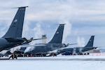 Working in -30 F temperatures, aircrews from the 22nd Wing, McConnell Air Force Base, Kansas, and the 151st Air Refueling Wing, Wright Air National Guard Base, Utah, train in the same arctic conditions in interior Alaska that aircrews from the 168th Wing, Eielson AFB, Alaska, routinely work in, January 29, 2020. The visiting Airmen are learning what it takes to keep the KC-135R Stratotanker in a 'ready state' in sub-zero temperatures.