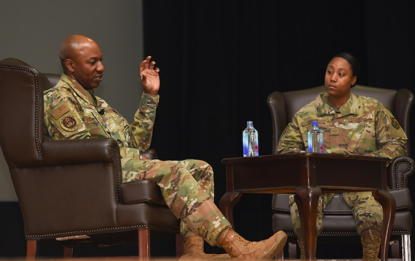 Chief Wright speaks to SSgt Amanda Harris