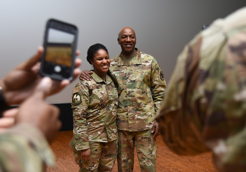 Chief Wright poses with an Airman