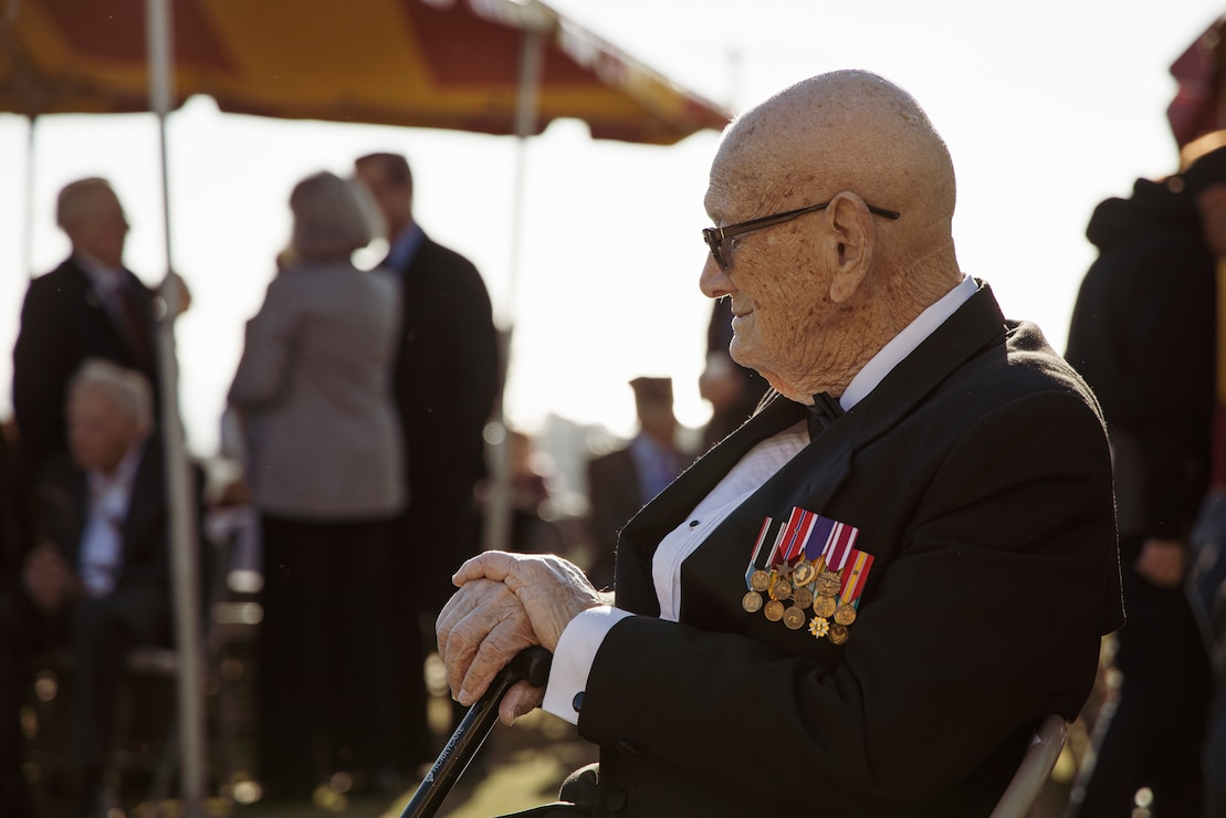 Retired Master Gunnery Sgt. Len Maffioli, an Iwo Jima veteran and master of ceremonies, waits for the start of the 75th Commemoration of the Battle of Iwo Jima sunset ceremony at Marine Corps Base Camp Pendleton, California, Feb. 15.