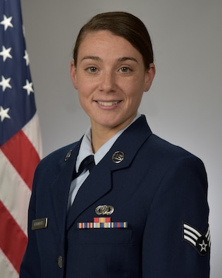 Official photo of Senior Airman Janeen Friedrichs, clarinetist with the Concert Band, Rockies Clarinet Quartet, and Marching Band, three of nine ensembles in the United States Air Force Academy Band, Peterson Air Force Base, Colorado.