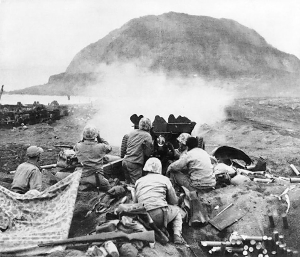 Marines fire on Japanese fortifications on Iwo Jima on, or shortly after, Feb. 19, 1945.