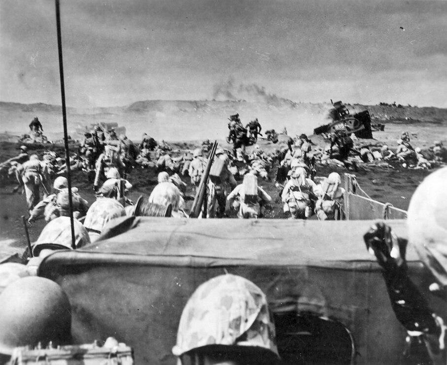 Marines land on Iwo Jima, Feb. 19, 1945.