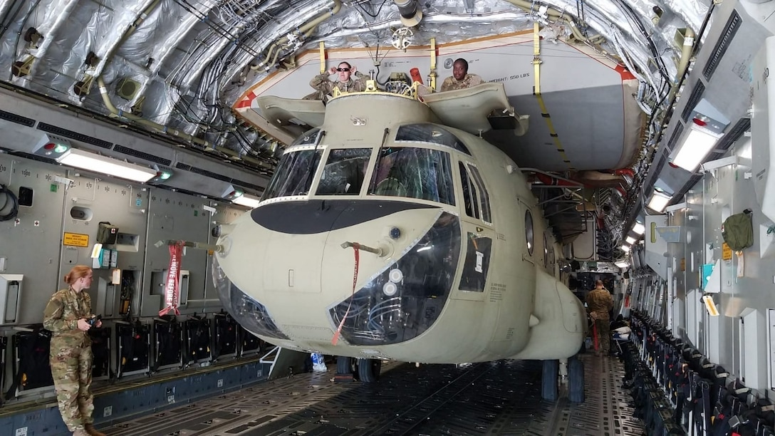 Soldiers of the 1107th Theater Aviation Sustainment Maintenance Group work to offload a CH-47 (Chinook) helicopter at Camp Buehring, Kuwait, Feb. 03, 2020. (Courtesy photo)