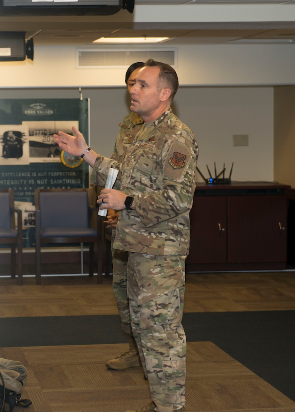 Photo of Chief Master Sgt. Daniel Hoglund, AFPC's command chief speaking in the Boles Conference room at Joint Base San Antonio-Randolph, Texas.