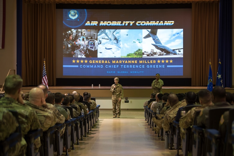 U.S. Air Force Gen. Maryanne Miller, Air Mobility Command commander, speaks to 6th Air Refueling Wing Airmen during an all-call at MacDill Air Force Base, Fla., Feb. 13, 2019. Miller spoke about advancing warfighting capabilities and the future of AMC.