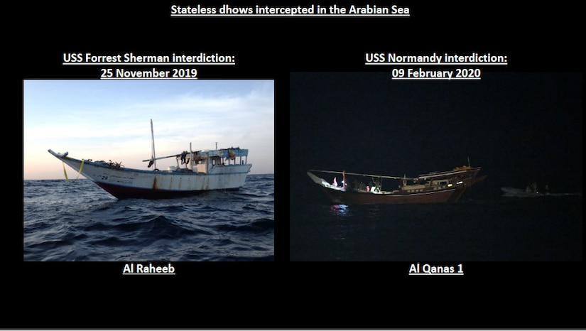 While conducting routine maritime security operations in the Arabian Sea, a team from the USS NORMANDY boarded this dhow in accordance with international law and discovered a large cache of Iranian-made weapons that we assess were intended for delivery to the Houthis in Yemen.