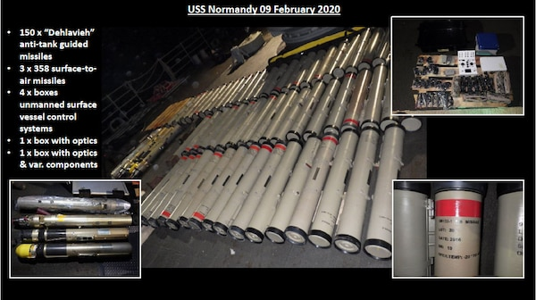 This slide provides a look at the breadth of weapons and components seized by the USS NORMANDY in February. You can see the anti­tank weapons, the surface-to-air missiles, and various electronic components for unmanned systems.