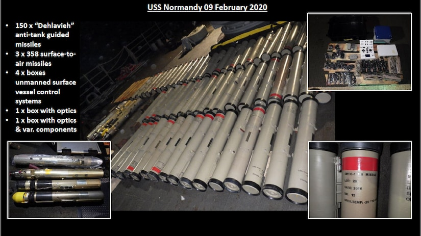 This slide provides a look at the breadth of weapons and components seized by the USS NORMANDY in February. You can see the antitank weapons, the surface-to-air missiles, and various electronic components for unmanned systems.