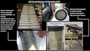 Here's a look at the missiles seized by the USS FORREST SHERMAN and confirmed by the UN as likely Iranian DEH-LA-VIA anti-tank guided missiles. The markings and components of these missiles are unique to Iranian systems.