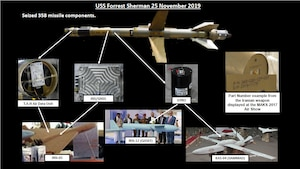 This slide shows one of the five, near-fully assembled uniquely Iranian-designed and manufactured Three-Five-Eight surface-to-air missiles that were a part of the shipment seized by the USS FORREST SHERMAN in November.