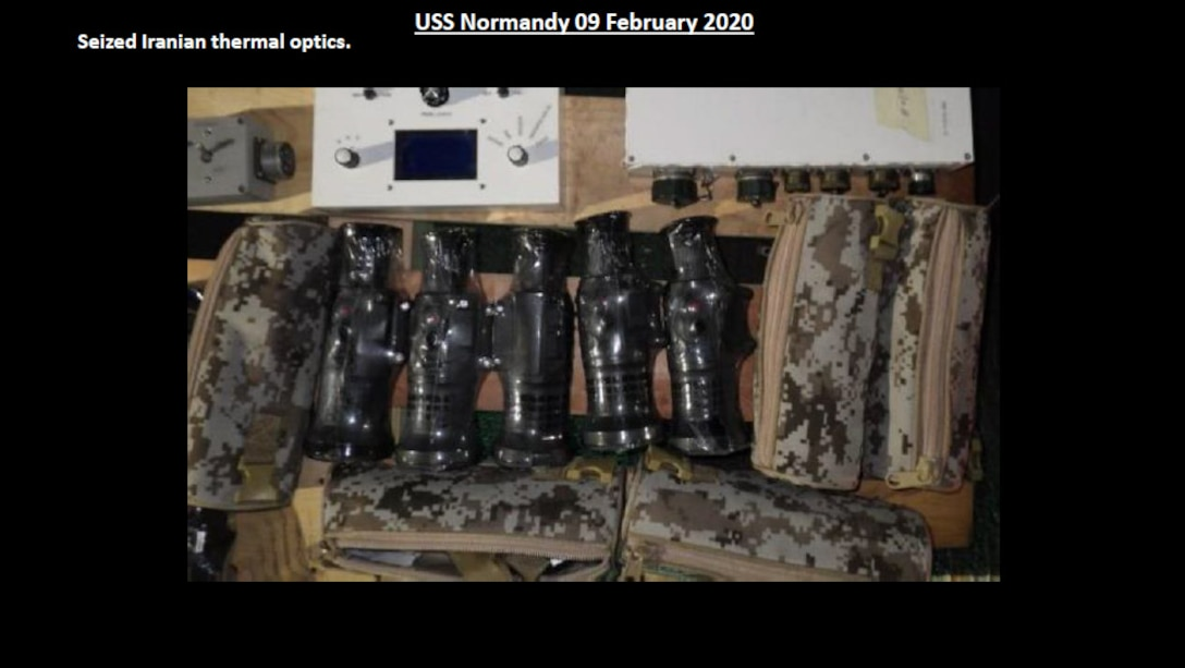 Thermal optic weapon sights, produced by the same Iranian-based manufacturer, which were seized by the USS NORMANDY in February.