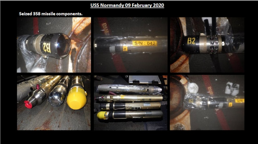 Three-Five-Eight surface-to-air missiles, but these were seized by the USS NORMANDY in February.