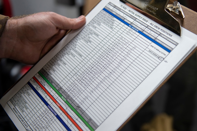 Photo of an Airman checking off a list of issued equipment.