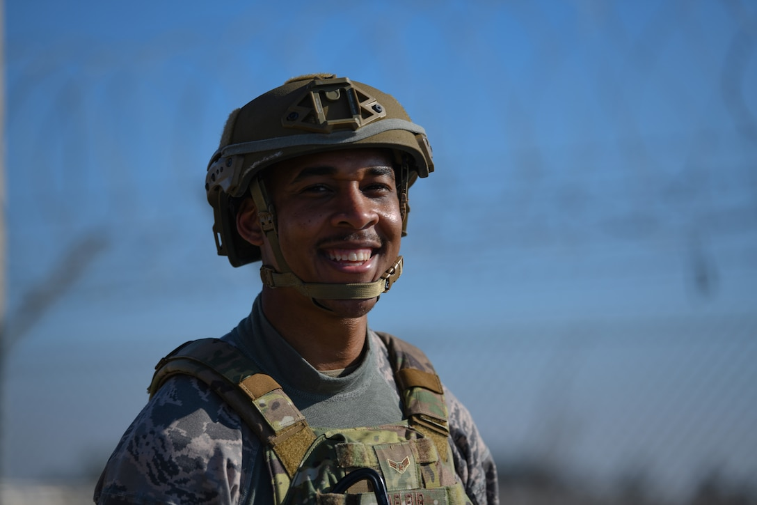 U.S. Air Force Airman 1st Class Marcus Lafleur, 31st Security Forces Squadron member, smiles at Aviano Air Base, Italy, Feb. 14, 2020. Twenty-one SFS members participated in 2020 Defenders Challenge which demonstrated endurance, strength, resiliency and tenacity. (U.S. Air Force photo by Airman 1st Class Ericka A. Woolever)