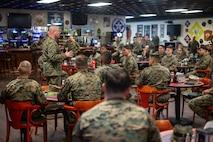 U.S. Marine Corps Sgt. Maj. Jason Jones, sergeant major 2nd Marine Logistics Group, speaks to sergeants at a Sergeant Symposium on Camp Lejeune, N.C. Feb.12, 2020. The symposium was held to encourage and develop sergeants through mentorship of senior leaders. (U.S. Marine Corps photo by Lance Cpl. Scott Jenkins)