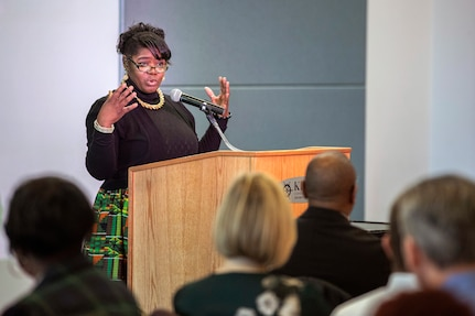 Valerie Scott, diversity and inclusion director at Norfolk Navy Shipyard, speaks at Puget Sound Naval Shipyard & Intermediate Maintenance Facility's African American Employee Resource Group community luncheon in honor of Black History Month at the Kitsap Conference Center Feb. 19. The luncheon was the fifth annual celebration held by PSNS & IMF and was attended by approximately 140 people, including both shipyard employees and partners.