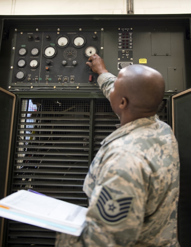 U.S. Air Force Tech. Sgt. Kokou Azalekor, an electrical power production technician with the 133rd Civil Engineer Squadron, adds oil to MEP 009B generator in St. Paul, Minn., Feb. 12, 2020.