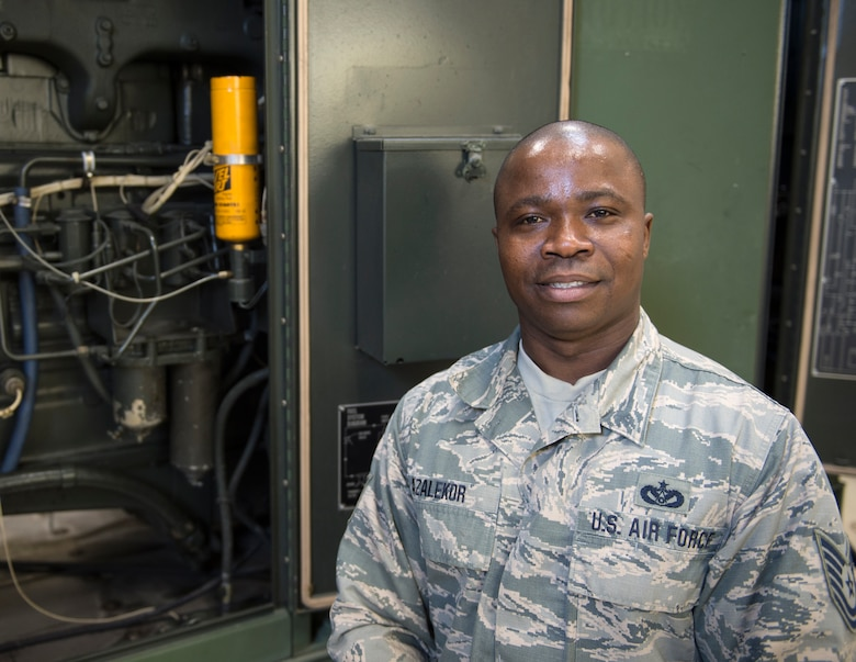 U.S. Air Force Tech. Sgt. Kokou Azalekor, an electrical power production technician with the 133rd Civil Engineer Squadron, poses for a photograph in St. Paul, Minn., Feb. 12, 2020.