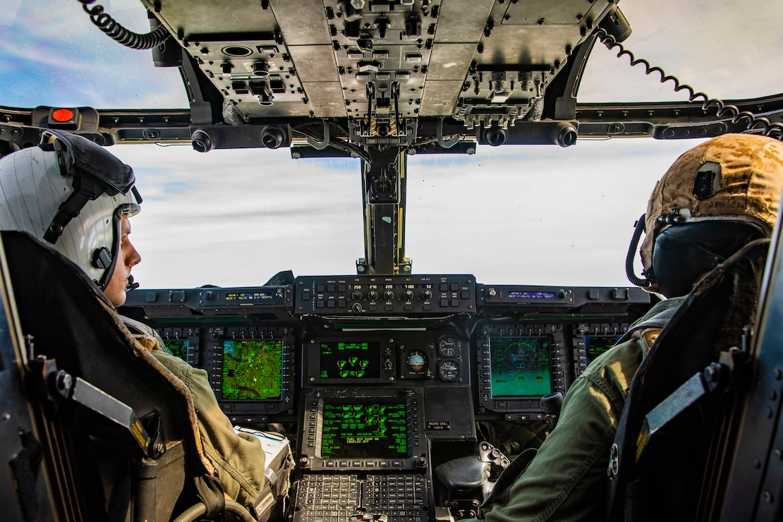 An MV-22B Osprey prepares to receive fuel from a KC-130J Super Hercules from Marine Aerial Refueler Transportation Squadron 252 over the Atlantic, Feb. 12.