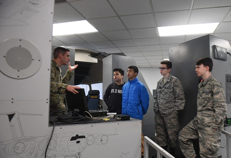Civil Air Patrol cadets are briefed by Airmen from the 373rd Training Squadron, Detachment 5, Joint Base Charleston, S.C., Feb. 11, 2020. The CAP performs services for the federal government as the official civilian auxiliary of the Air Force and performs other missions as a nonprofit organization.